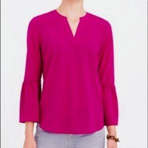 J. Crew Pink Bell Sleeve Blouse NWOT